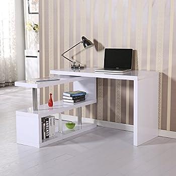 Pc eckschreibtisch  Links 50501010 Schreibtisch weiß hochglanz Computertisch PC-Tisch ...