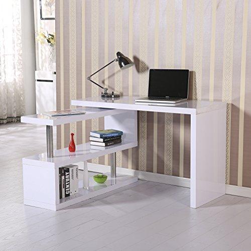Homcom 831-012WT Computertisch Eckschreibtisch Winkelschreibtisch Schreibtisch Bürotisch PC Tisch, MDF, modell 2/hochglanz weiß, 187.5 x 50.0 x 76.0 cm