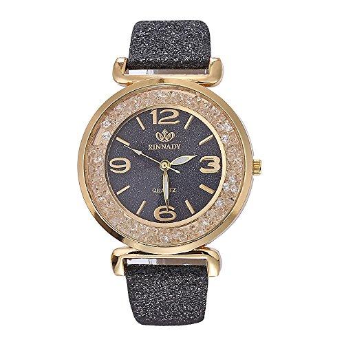 BaZhaHei Damen Uhren Mode-Frauen-Kristall-Edelstahl-analoge Quarz-Armbanduhr Wasserdicht Quarz Klassische Luxusuhr (Schwarz)