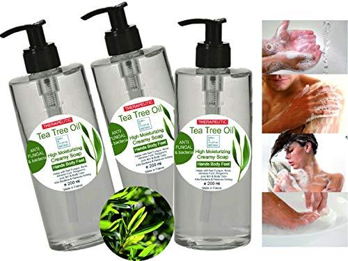 Sapone Terapeutico Tea Tree Olio 3 X 200 ml Gel Doccia Azione antimicotica antibatterica Shampoo Pidocchi bambini Sapone Anti Acne