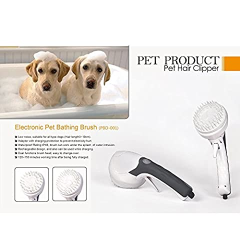 Fuji Automatic Animal Pet Grooming Brush Multifunction Rechargeable Dog Shower Head Handheld Sprayer Kit with Auto Pet Cat Hair Cleaner, 2 Massaging Heads for Massager Shower Bath and Shampoo Sprayer,