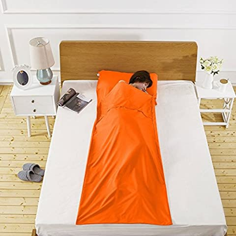 Sleeping Bag Liner, Soft Comfortable Lightweight Roomy Cotton Travel Sheet Camping Sheet Travel Hotel Sheet Bedding Bag Travelling and Camping Sleeping Bag Sleep Sack with Pillow Pockets To Prevent Dirty With Carry Bag for Travel, Youth Hostels, Picnic, Planes, Trains Orange.