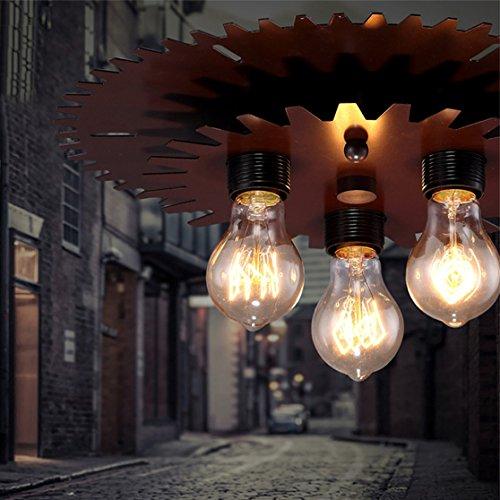 BAYCHEER Industrielampe Deckleuchte Deckenlampe 3 Flammige Lampenfassung Schmiedeeisen Lampe Kronleuchte Pendellampe - 7