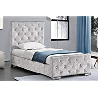 Beaumont Crushed Velvet Diamante 3ft Single Storage Girls Princess Bed Frame- Gold, Pink or Silver