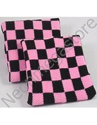 Paar Schwarz Kariert Pink Handgelenk Schweißbänder