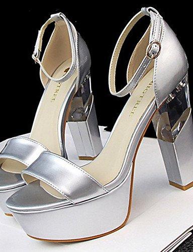WSS 2016 Chaussures Femme-Décontracté-Noir / Rouge / Blanc / Argent / Gris / Nu-Gros Talon-Talons-Talons-Polyuréthane gray-us5.5 / eu36 / uk3.5 / cn35