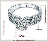 AMDXD Schmuck Damen Ringe Versilber Ring 3 Reihe Zirkonia mit Österreich Kristall Silber Ringe - 2