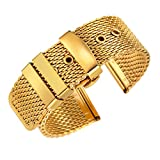 correas de reloj de oro tono de bucle milanese 18 mm de alta gama reemplazos correas de malla metálica con cierre desplegable