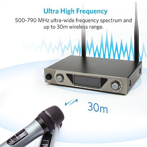 Wireless Mikrofon, UHF Funkmikrofon set Mikrofon System Karaoke Mikrofon Professional Dual 2 Handmikrofon Set Drahtloses Mikrofonsystem mit LCD Display für Outdoor Hochzeit, Konferenz, Karaoke usw. - 3