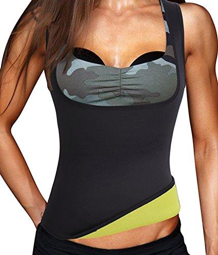 Damen Hot Schweiß Weste Neopren Sport Body Shaper Korsett Sauna-Anzug Waist Taille Cincher (2XL(Fit 40.1-44.0 Inch Waist), Black(3-5 Days (Kostüme Zum Fett)