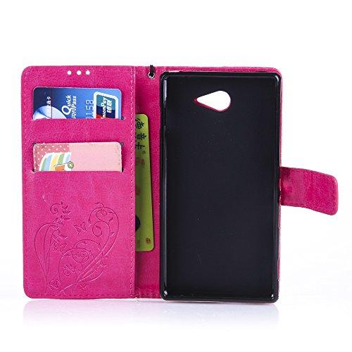 Qiaogle Telefon Case - PU Leder Wallet Schutzhülle Case für Apple iPhone 7 (4.7 Zoll) - YB07 / Fashion Blau & Blumen YB03 / Fashion Rosa & Blumen