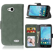 Telefono Caso per LG Optimus L90 D405N Dual D410 ,PU Custodia In Pelle 3 Carte Slot Credito Flip Cover Case Chiusura Magnetica(Verde)