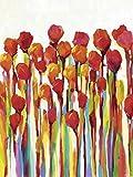 Artland Qualitätsbilder I Glasbilder Deko Glas Bilder 60 x 80 cm Botanik Blumenwiese Malerei Rot C2CR Strotzen mit Farben I