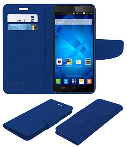 ACM Mobile Leather Flip Flap Wallet Case for Panasonic P81 Mobile Cover Blue