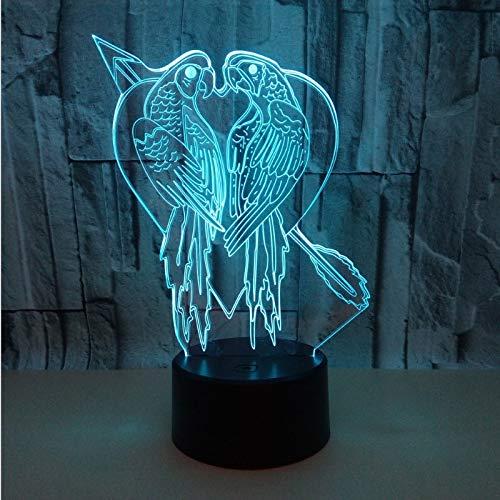 3D Optical Illusion Lampe LED Papagei Vogel Nachtlichter Licht Optisch Schreibtisch-Lampe in 7 Farben USB-Nachtlicht mit Touch-Button für Schlafzimmer und Valentine Geschenk Nachtlicht LED-Nachtlicht -