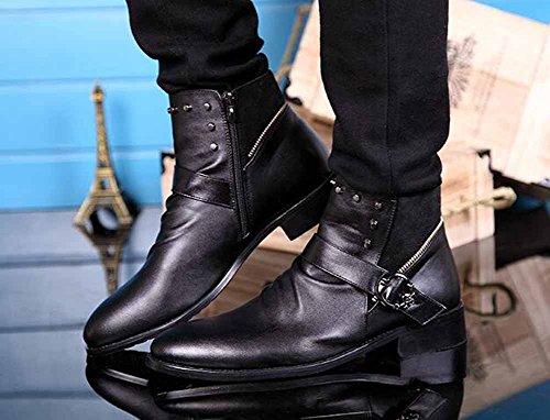 Uomini Uomini Alto Stivali Martin Stivali Doppio Chiusura lampo Stivali Pointed Stivali Scarpe Casual Black