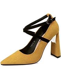 Xue Qiqi Escarpins Couture en satin, à fente pour chaussures élégantes chambres simples conseil simple avec de grosses chaussures à haut talon creux tide,37, jaune