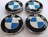 X4 Set von 4 blauen und weißen BMW Alufelgen-Abzeichen Center-Nabenkappen 68 MM 10 Clips BMW (68 MM)