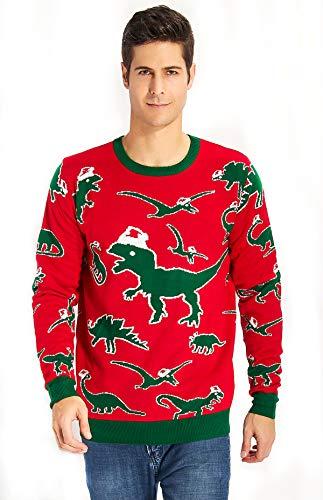 uideazone Herren Damen Ugly Weihnachts Pullover Jumper Xmas Dinosaurier Sweater Shirt Strickpullover