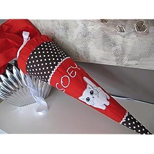 #73 Katze rot-braun Schultüte Stoff + Papprohling + als Kissen verwendbar