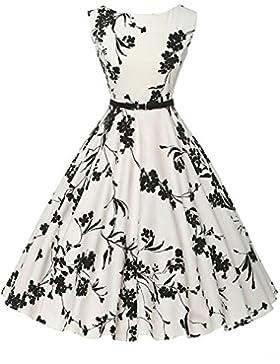 49e65a163af8  Sponsorizzato KUONUO Annata Vestito anni  50 Donna Elegante Cerimonia  Cocktail Floreale Abito in