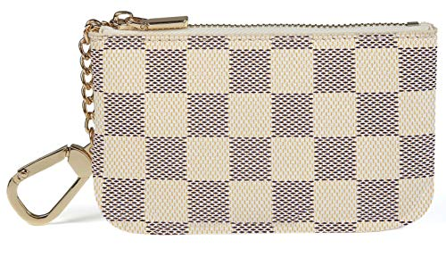 Daisy Rose X Katy Roach Luxus Zip Checkered Schlüsselanhänger Pouch | Pu Vegan Leder Mini Geldbörse Geldbörse mit Haken Klein Sahne Rose Damen Leder