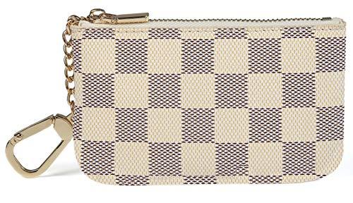 Daisy Rose X Katy Roach Luxus Zip Checkered Schlüsselanhänger Pouch | Pu Vegan Leder Mini Geldbörse Geldbörse mit Haken Klein Sahne - Kreditkarte Beutel