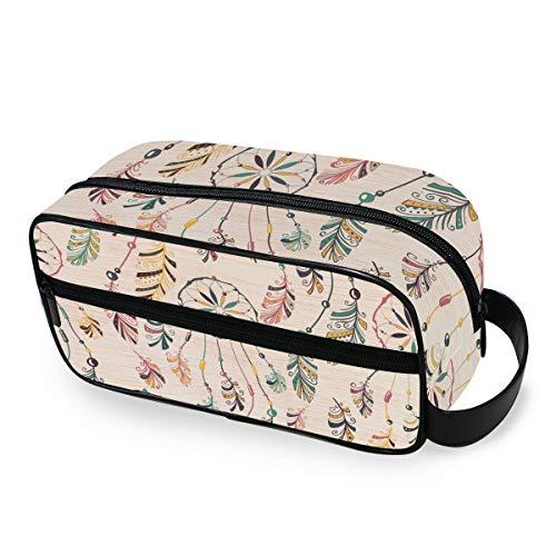 FAJRO Atrapasueños con plumas coloridas, bolsa de viaje para cosméticos, bolsa de aseo multifuncional portátil para cosméticos y maquillaje, organizador para viajes