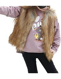 Mädchen Wintermantel Kunstfell Weste Wärmejacke Parka Coat Übergangsjacke Outwear Oberteil