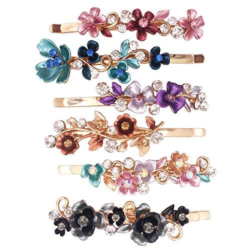 6 Farbenfrohe Altmodische Blumen Design Metall Haarspangen Accessoires Frauen Mädchen
