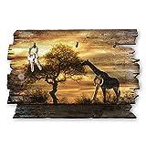 Kreative Feder Giraffe Afrika Designer Schlüsselbrett, Hakenleiste Landhaus Style, Shabby aus Holz 30x20cm, HSB113
