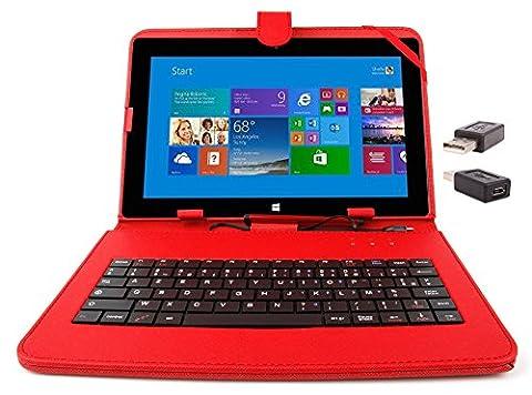 Etui aspect cuir rouge avec clavier intégré AZERTY (français) pour Microsoft Surface Pro et RT 1 et 2 tablettes 10,6