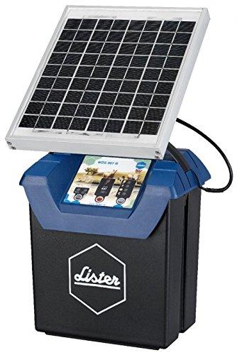 *Lister Weidezaungerät WZG 9.07 S, 12 Volt Akkugerät mit Solarpanel inkl. Akku, Anschlusskabel und Erdstab*