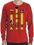 Déguisement de pompier Costume Halloween T-shirt Manches longues Homme Small Rouge