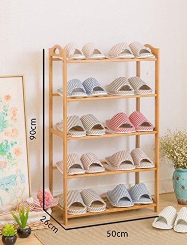 5 Tier-massivholz (Garderobenschränke 5 Tier Schuh Rack Massivholz Einfache Lagerung Schrank Möbel Kreative Einfachheit Bambus Organizer Regale Möbelschrank-WXP (größe : 50 cm))