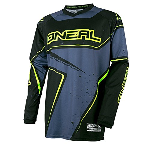 O'Neal Element Racewear Jersey Schwarz Grau Hi-Vis MX MTB DH Trikot Motocross Offroad, 0028-20, Größe XL