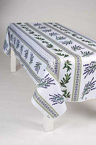Nappe Lavande Olive rectangulaire - Anti Taches, Infroissable - 100% Polyester (Tissu) - Blanc, 240x150cm, Rectangulaire