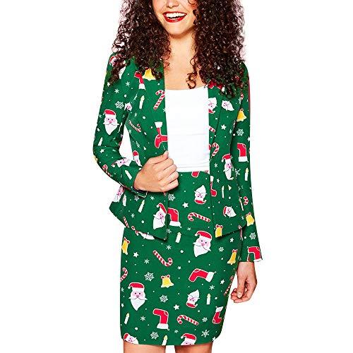 MarryoU Damen Blazer Weihnachten Fashion Jacke Set Herbst Und Winter Mantel Anzug Set Kurz Jacken Elegante Blazer