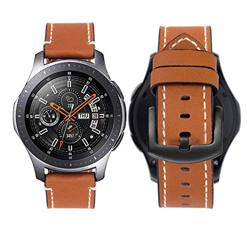 iBazal Cinturino Gear S3 Frontier Classic Pelle 22mm Braccialetto Cuoio Compatibile con Galaxy Watch 46mm,Huawei Watch GT/2...
