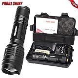 Mitlfuny X800 Shadowhawk 6000lm taktische Taschenlampe T6 LED militärische Taschenlampe Geschenkset- ideal für Camping, Wandern und Spaziergang mit Hunde (Schwarz)