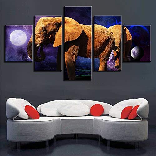 Decoración de la Sala Impresiones de Pared 5 Piezas Abstractas Planeta Elefantes...