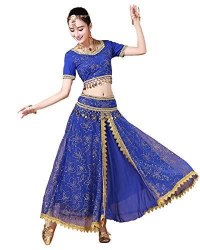 Grouptap Bollywood Lehenga Choli indische Frauen Anarkali Saree Damen Hochzeit Designer Tanz Bluse Kleid blau Lengha Kostüm (Blau, 152-172 cm, 45-70 kg)