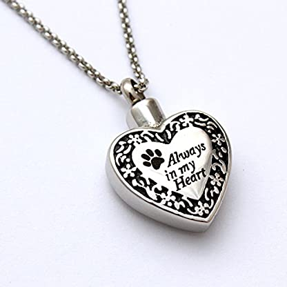 Zahara Pet Memorial Urn Necklace (20 Inches) with Velvet Pouch & Funnel | Always in My Heart Paw Pendant + Chain 1
