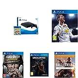 PlayStation 4 (PS4) - Consola De 500 GB, Color Negro + Voucher ¡Has Sido Tú! + FIFA 18 - Edición estándar + Call Of Duty WWII + Battlefield 1 - Edición Revolution + Uncharted: El Legado Perdido
