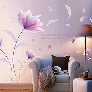 erthome DIY Purple Flowers Environment Layout TV Background Wall Decoration Removable Wall Stickers PVC