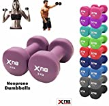 Neoprene Dumbbell Set 1Kg, 2Kg, 3Kg, 4Kg, 5Kg, 6kg, 8kg, 10kg pair Ladies Gents Aerobic Weights Fitness Body Toning Home Gym Strength Exercise Biceps Training Pilates (Purple, 1.5Kg Set = (1.5*2 = 3Kg))