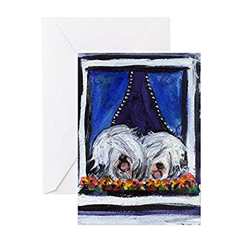 CafePress - OLD ENGLISH SHEEPDOG WINDOW Greeting Cards (Packa - Greeting Card, Note Card, Birthday Card, Blank Inside
