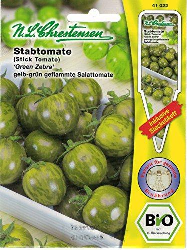Bio Stabtomate 'Green Zebra' gelb-grün geflammte Tomate 'Lycopersicon esculentum' 41022