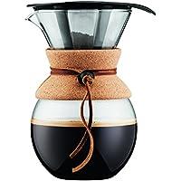 Bodum 11571-109 Pour Over Kaffeebereiter mit Permanentfilter 1 L, Mehrlagig, transparent, 14 x 16,3 x 20,2 cm
