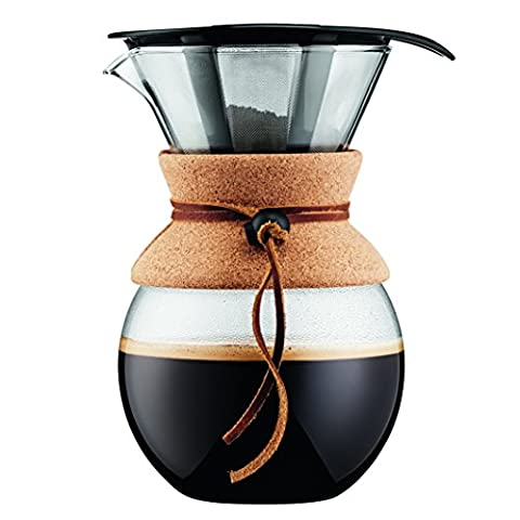 Bodum - 11571-109 - Pour Over - Cafetière avec Filtre Inox à Maille Fine, Finition Liège, 1.0 l